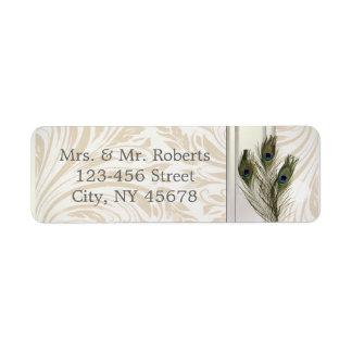 elegant vintage cream damask peacock wedding label