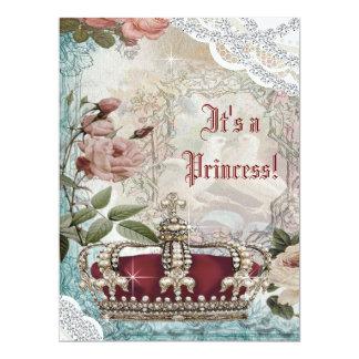 Elegant Vintage Crown Princess Baby Shower Card