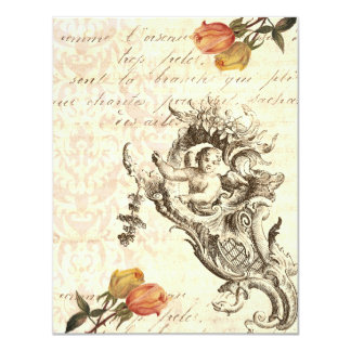 Elegant Vintage Cupid and Damask Baroque Design Card