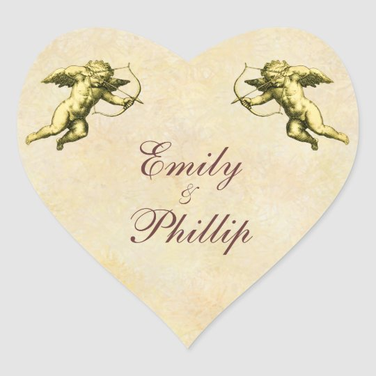 Elegant Vintage Cupid Heart Sticker