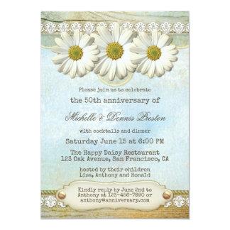 Elegant Vintage Daisy Anniversary Party Invitation