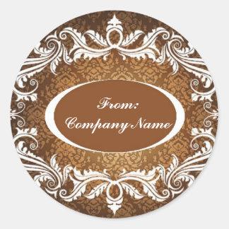 Elegant Vintage Damask Corporate Holiday greeting Classic Round Sticker