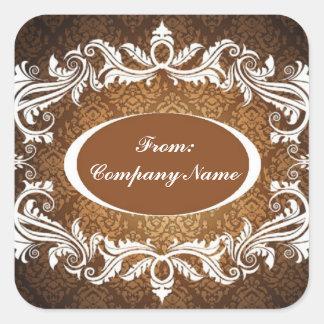 Elegant Vintage Damask Corporate Holiday greeting Square Sticker