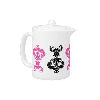 Elegant vintage damask in black and hot pink
