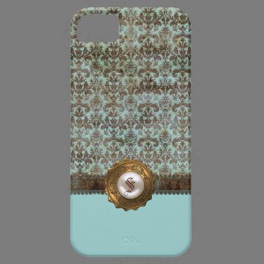 Elegant Vintage Damask Monogram iPhone 5 Case