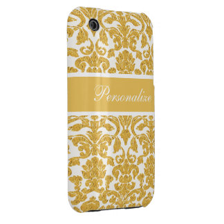Elegant Vintage Damask Pattern Personalized iPhone 3 Case-Mate Case