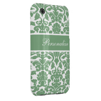 Elegant Vintage Damask Pattern Personalized iPhone 3 Cover