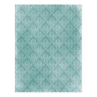 Elegant vintage damask pattern white faded grunge postcard