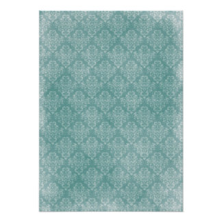 Elegant vintage damask pattern white faded grunge poster