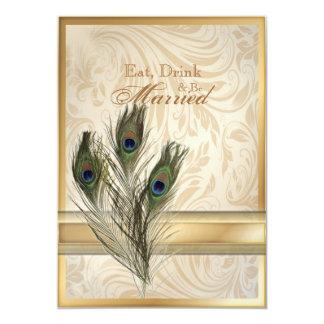 elegant vintage damask peacock rehearsal dinner card