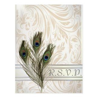 elegant vintage damask peacock wedding RSVP Postcard