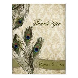 elegant vintage damask peacock wedding thank you postcard