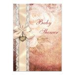 Elegant Vintage Damask Roses & Bow Baby Shower Card