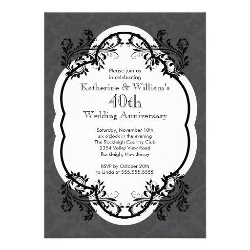 Elegant Vintage Damask Wedding Anniversary Party Personalized Invitation