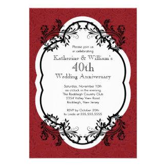 Elegant Vintage Damask Wedding Anniversary Party Personalized Invitations