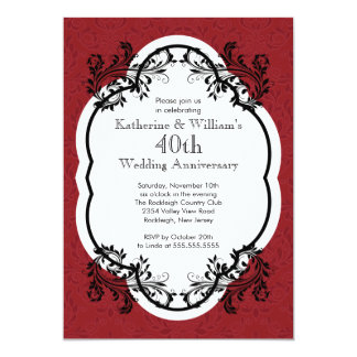 Elegant Vintage Damask Wedding Anniversary Party Invitation