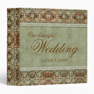Elegant Vintage Damask Wedding Green Brown Binder