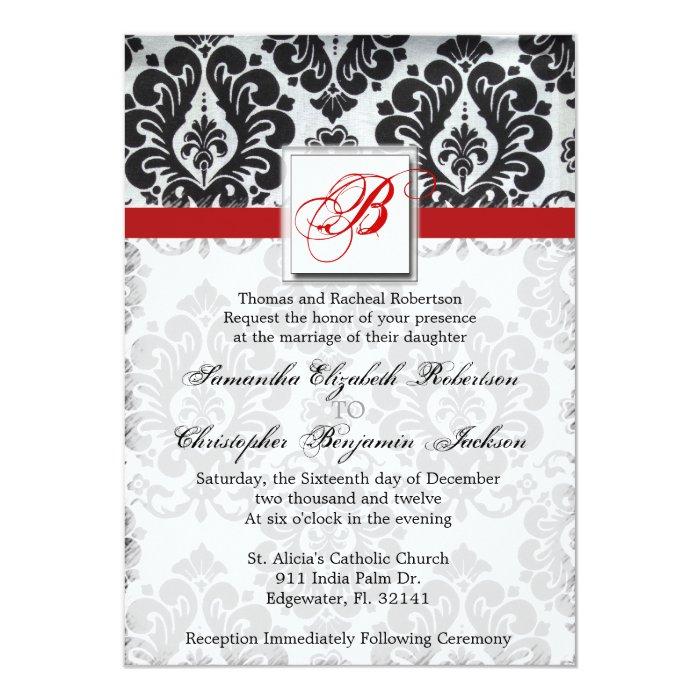 Elegant Vintage Damask Wedding Invite