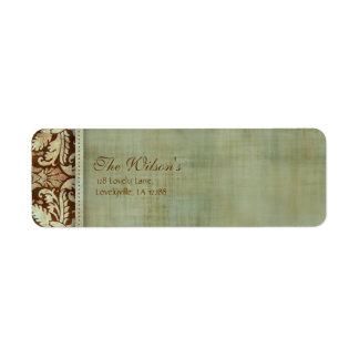 Elegant Vintage Damask Wedding Label Address