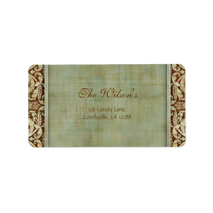 Elegant Vintage Damask Wedding Label Address 2