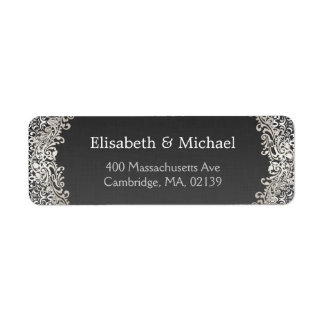 Elegant Vintage Dark Silver Damask Classic Formal Label