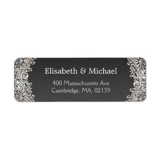 Elegant Vintage Dark Silver Damask Classic Formal Label
