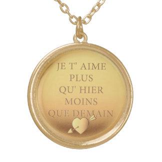 Elegant Vintage declaration of love Paris France Round Pendant Necklace