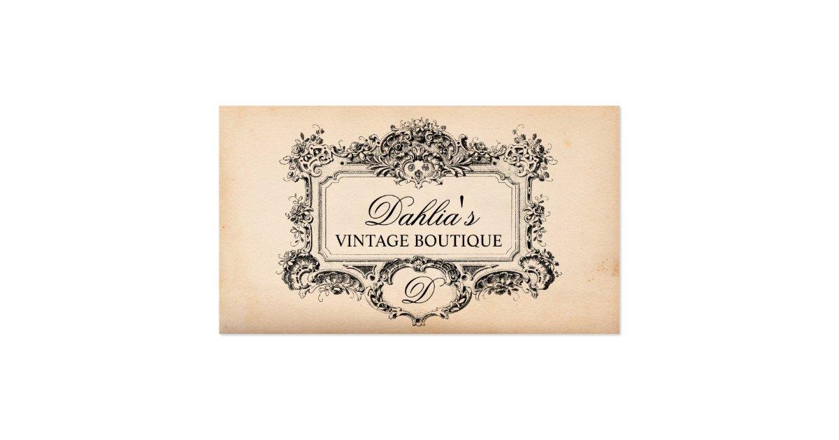 Elegant vintage decoration fashion boutique business card zazzle - Boutique deco vintage ...