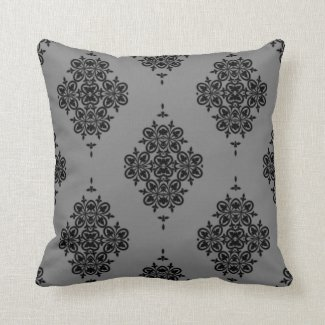 Elegant Vintage Design in Black on Gray/Any Color Throw Pillow