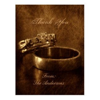 elegant vintage diamond rings wedding thank you postcards