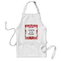 Elegant Vintage Distressed Red White Lace Damask Adult Apron