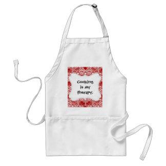 Elegant Vintage Distressed Red White Lace Damask Adult Apron