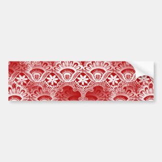 Elegant Vintage Distressed Red White Lace Damask Bumper Stickers