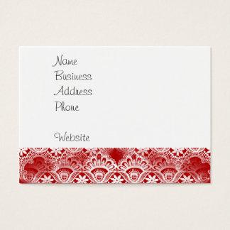 Elegant Vintage Distressed Red White Lace Damask Business Card