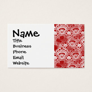 Elegant Vintage Distressed Red White Lace Damask Business Card