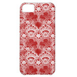 Elegant Vintage Distressed Red White Lace Damask iPhone 5C Cases