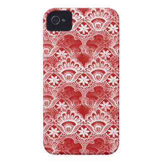Elegant Vintage Distressed Red White Lace Damask iPhone 4 Case-Mate Cases