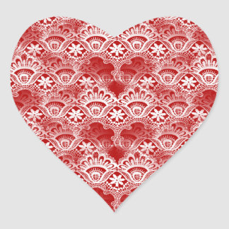 Elegant Vintage Distressed Red White Lace Damask Heart Sticker