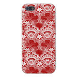 Elegant Vintage Distressed Red White Lace Damask Case For iPhone 5