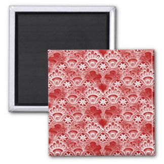 Elegant Vintage Distressed Red White Lace Damask Magnet