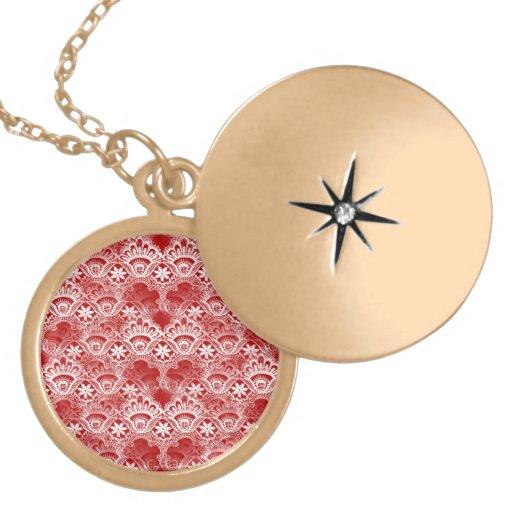 Elegant Vintage Distressed Red White Lace Damask Round Locket Necklace