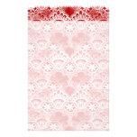 Elegant Vintage Distressed Red White Lace Damask Stationery Design