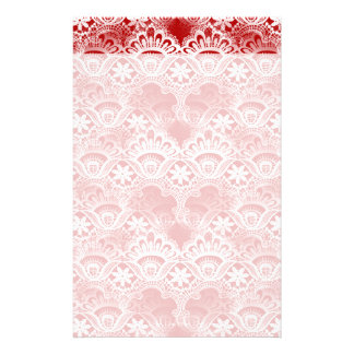 Elegant Vintage Distressed Red White Lace Damask Stationery