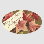 Elegant Vintage Fall Leaves Thanksgiving Sticker