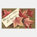 Elegant Vintage Fall Leaves Thanksgiving Stickers