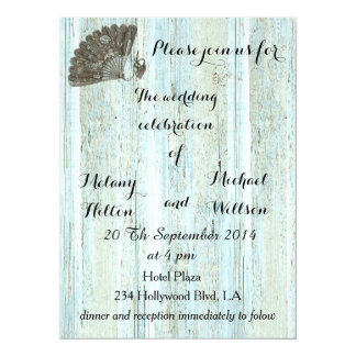 Elegant vintage fan  wooden romantic wedding card