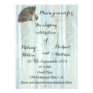 Elegant vintage fan  wooden romantic wedding announcement