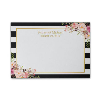 Elegant Vintage Floral Black White Stripes Wedding Post-it Notes