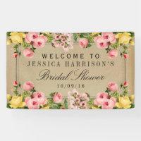 Elegant Vintage Floral Bridal Shower Banner