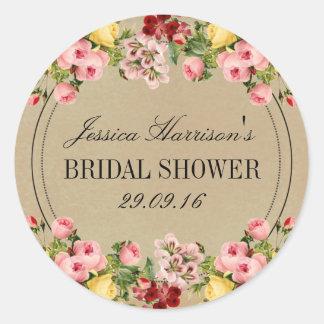 Elegant Vintage Floral Bridal Shower Classic Round Sticker